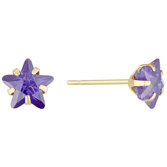 9ct Gold Purple Cubic Zirconia Star Stud Earrings - Product number 6136052