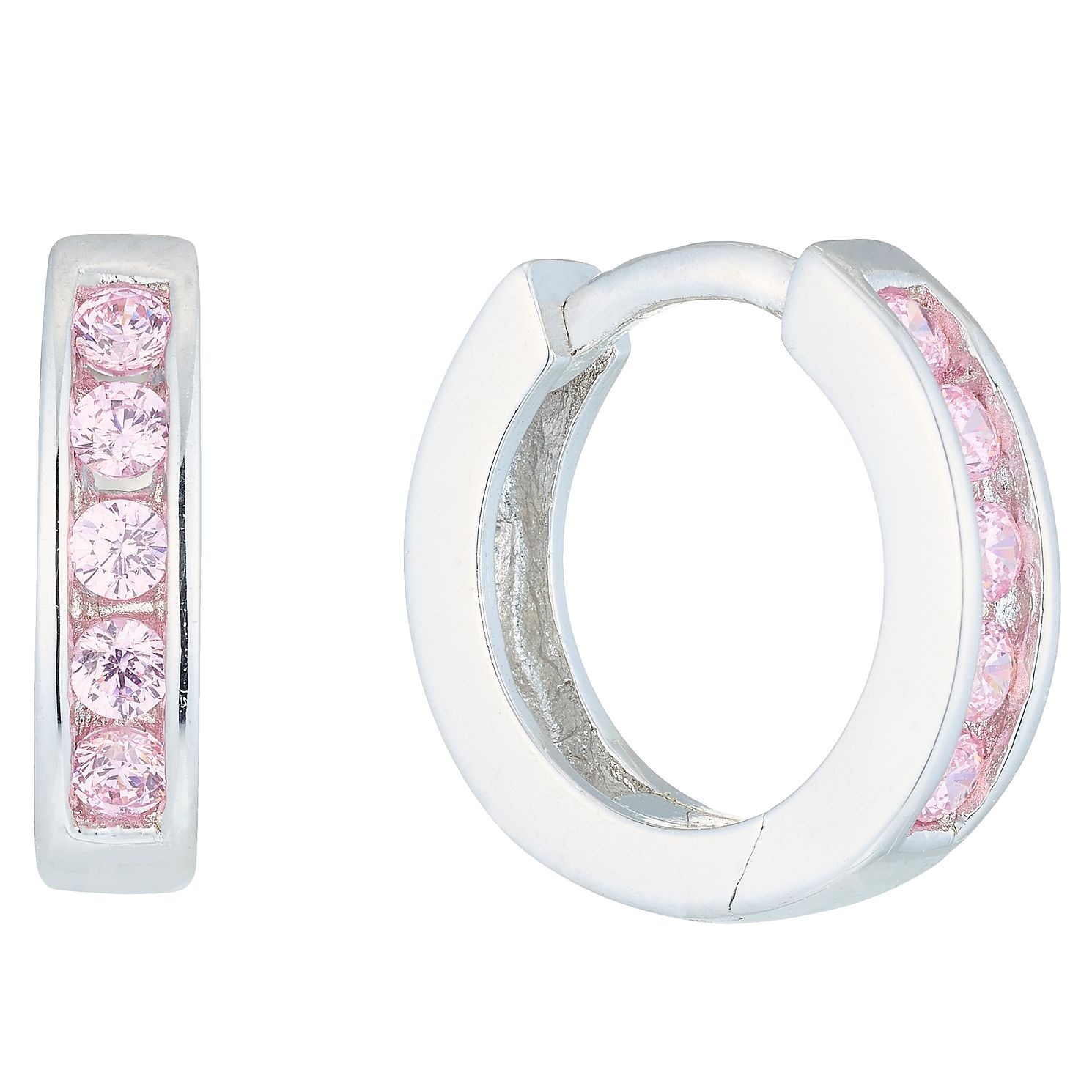 Sterling Silver Light Pink Cubic Zirconia Huggie Earrings - Product number 6136141