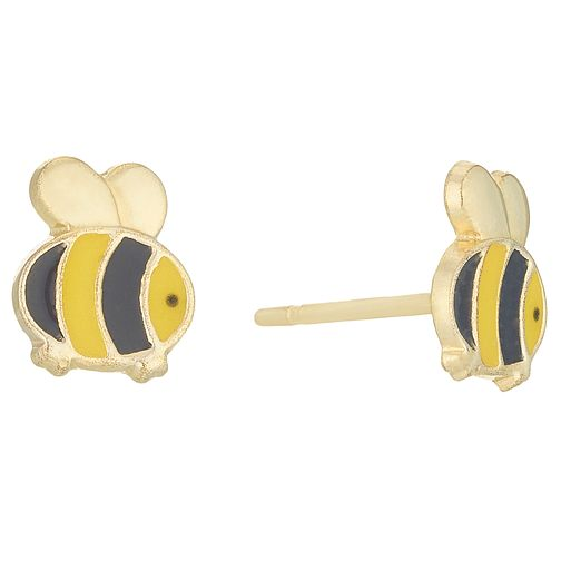 9ct Gold Enamelled Bee Stud Earrings In Novelty Box - Product number 6136214