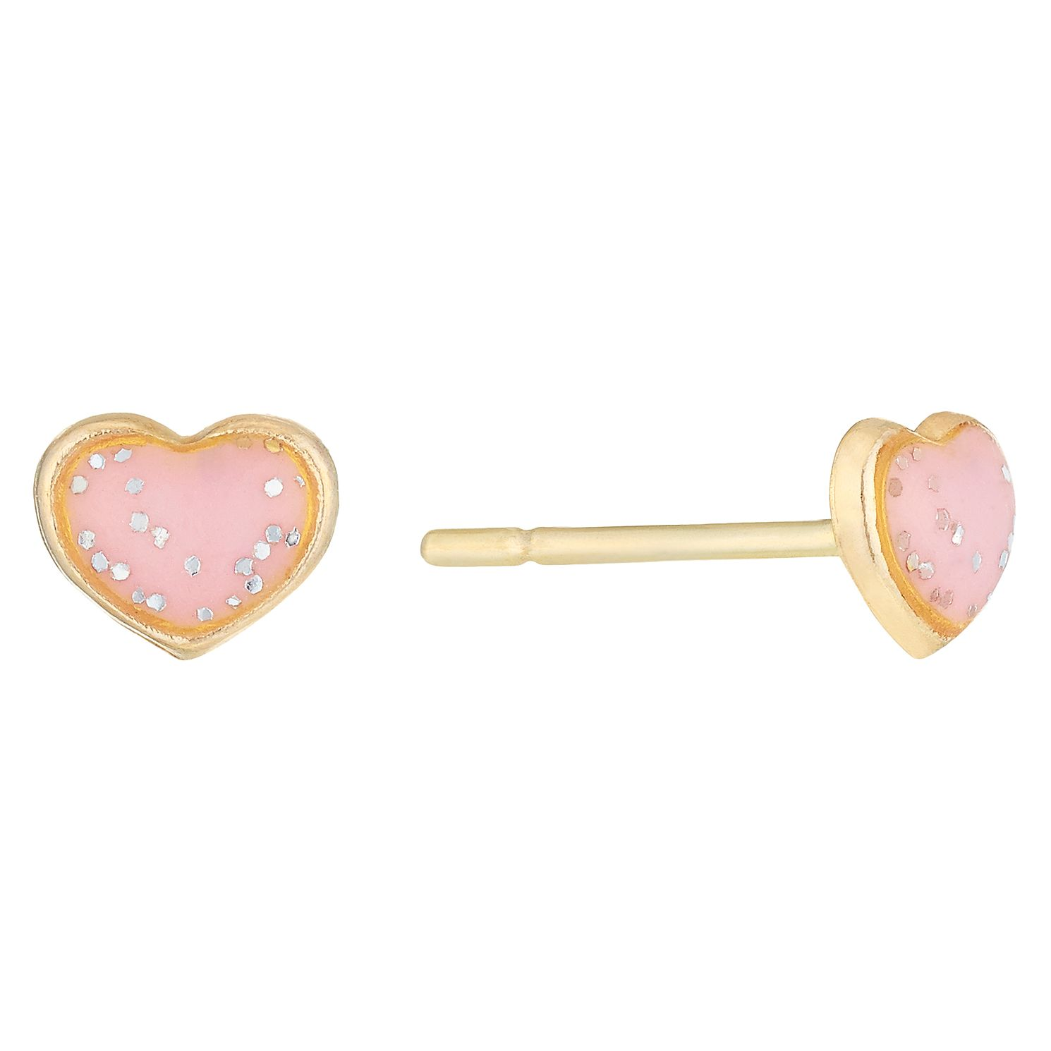 9ct Gold Speckled Pink Enamel Heart Stud Earrings - Product number 6136222