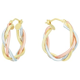 9ct Gold 3 Colour Plaited Creole Earrings - Product number 6137601