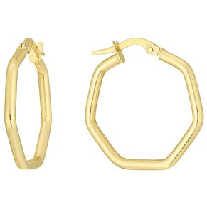 9ct Gold Hexagon Creole Earrings - Product number 6137873