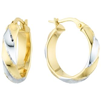 9ct Gold 2 Colour Diamond Cut Striped 15mm Creole Earrings - Product number 6137970