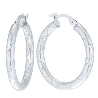 9ct White Gold Sparkle Cut Creole Earrings - Product number 6138268
