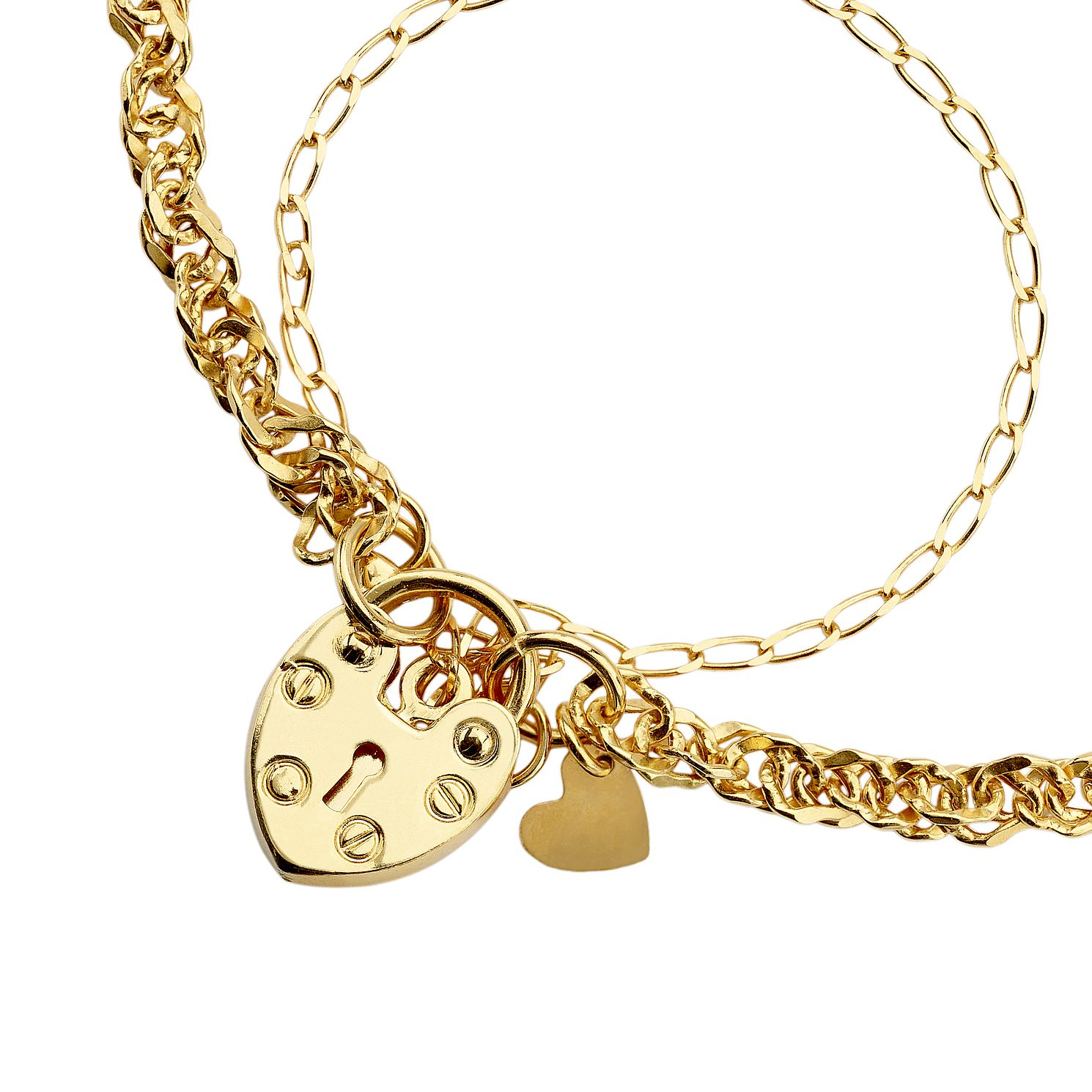 9ct Gold Heart Padlock Charm Singapore Bracelet - Product number 6140386