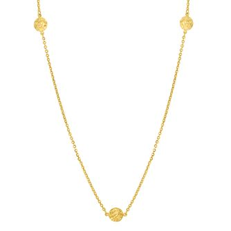 9ct Gold 27.5 inches Diamond Cut Disc Station Necklace - Product number 6140610