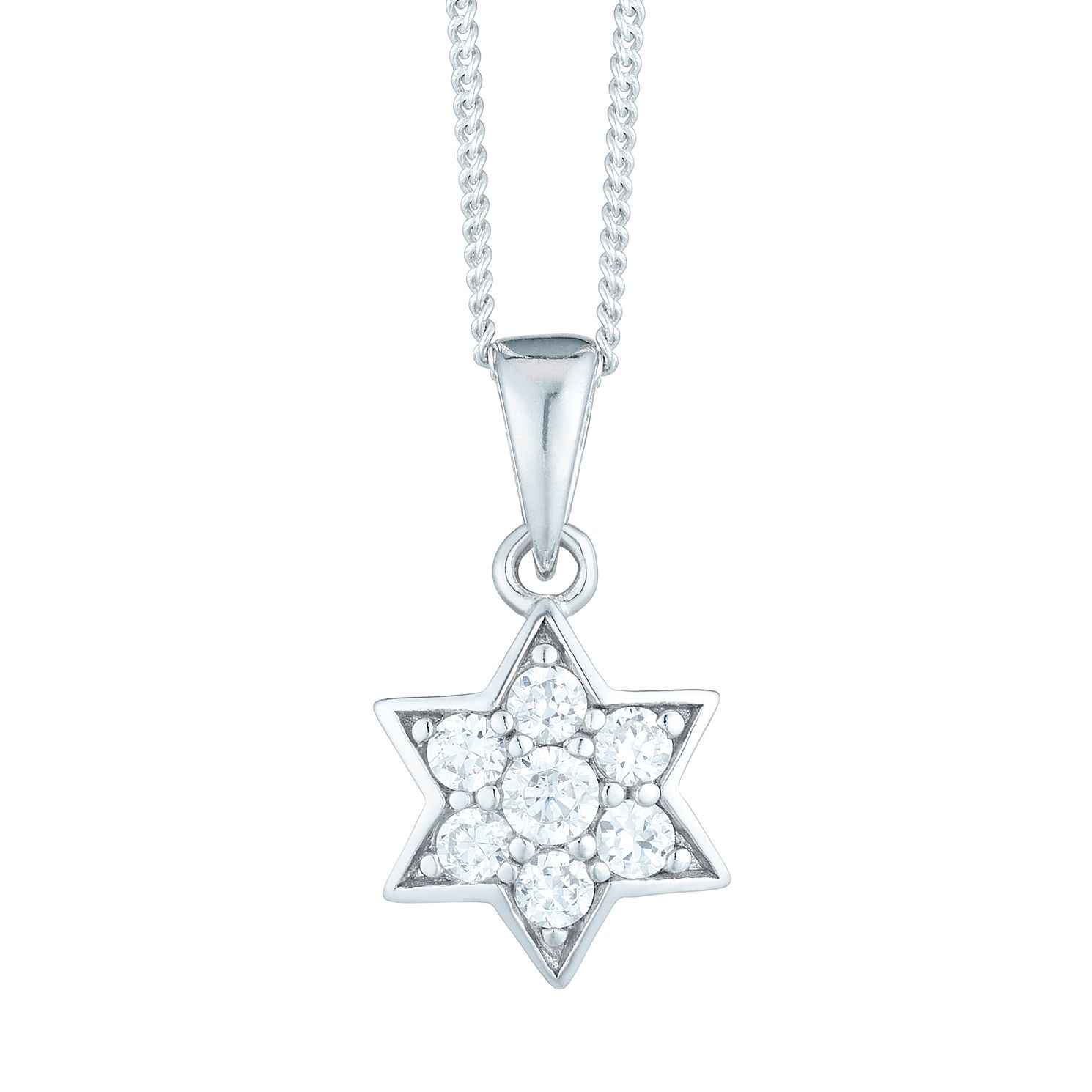 Sterling Silver Cubic Zirconia Set Star Pendant - Product number 6140637