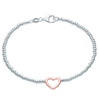 Sterling Silver & Rose Gold Plated Heart Charm Bracelet - Product number 6147224