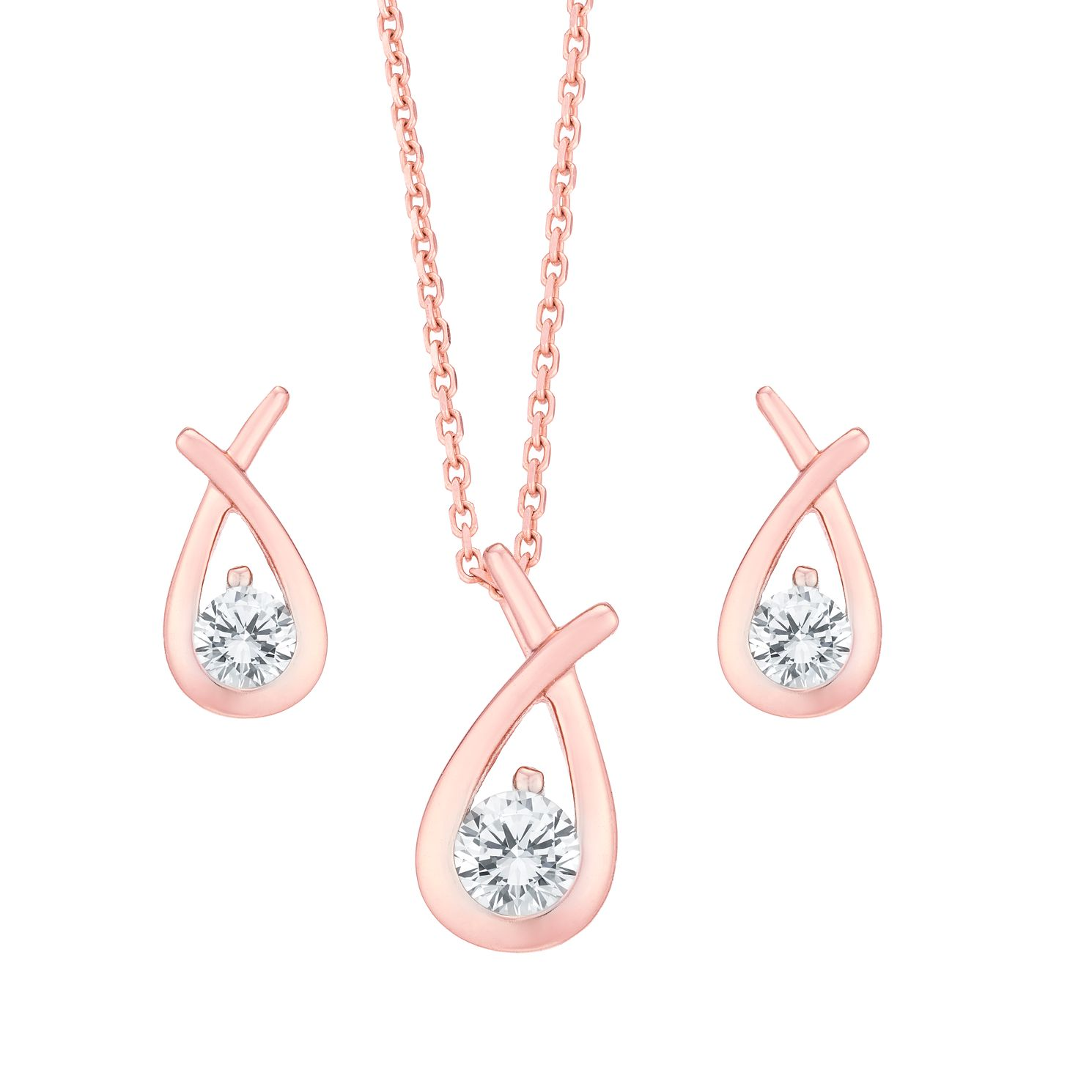 Rose Gold Plated Cubic Zirconia Earring & Necklace Gift Set - Product number 6147488