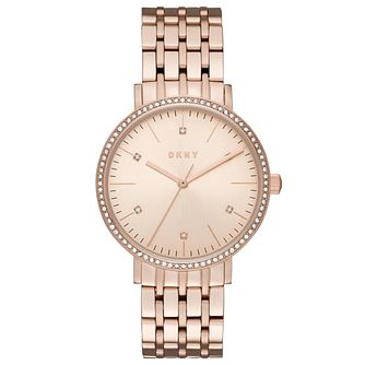 DKNY Ladies' Rose Gold Tone Stone Set Bracelet Watch - Product number 6153410