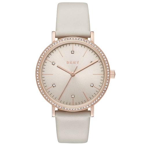 DKNY Ladies' Rose Gold Tone Stone Set Strap Watch - Product number 6153429