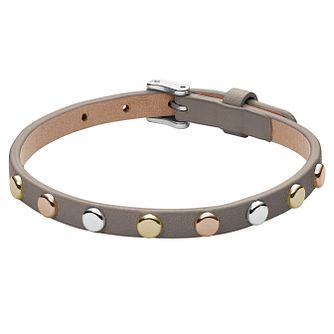 Fossil Grey Leather Studded Bracelet - Product number 6154646