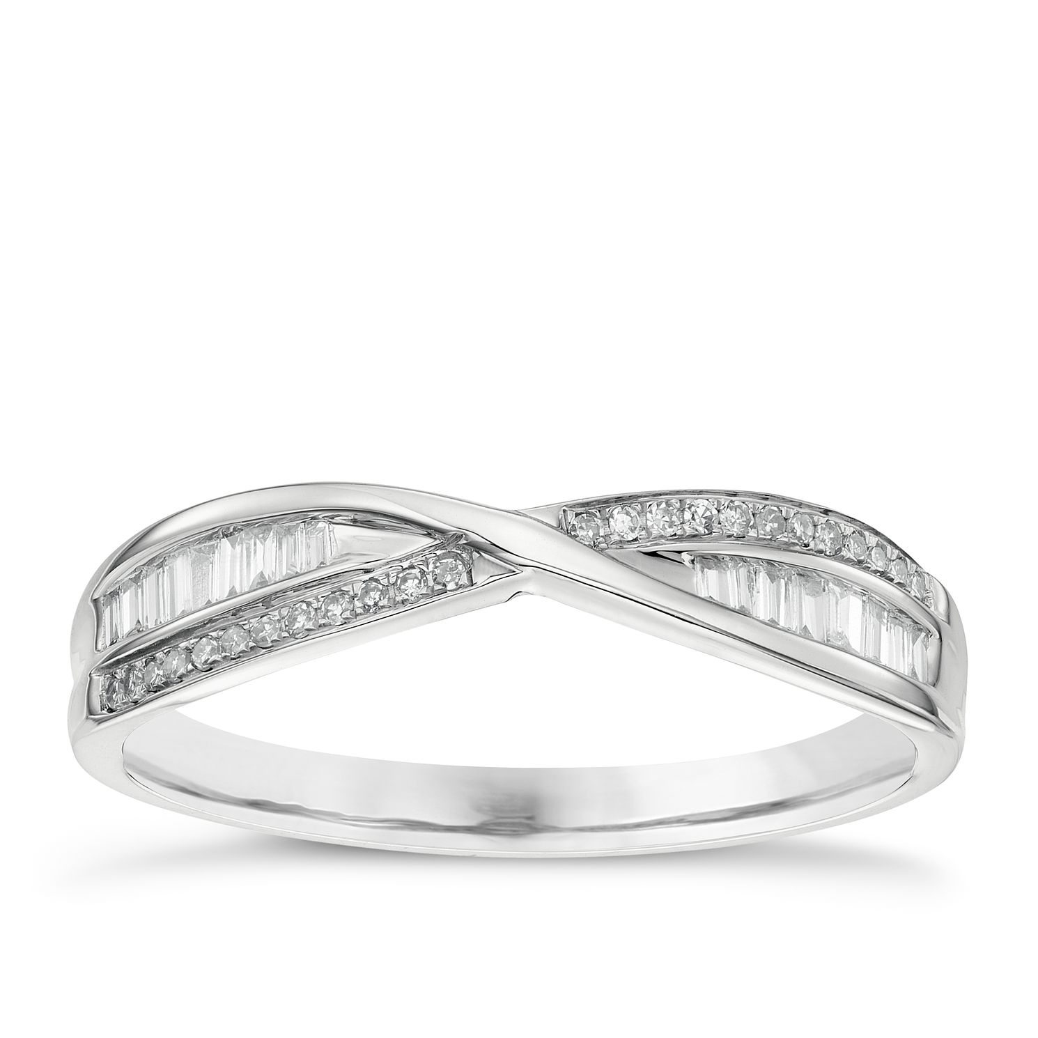 9ct White Gold 0.15ct Diamond Crossover Wedding Band - Product number 6155332