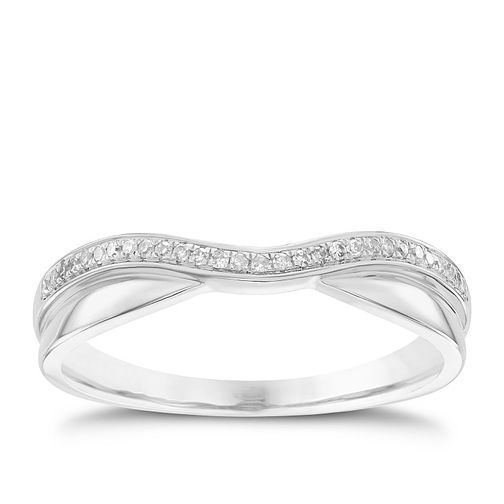 18ct White Gold Diamond Shaped Wedding Band - Product number 6156681