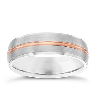 Palladium & 9ct Rose Gold 6mm Wedding Band - Product number 6158366