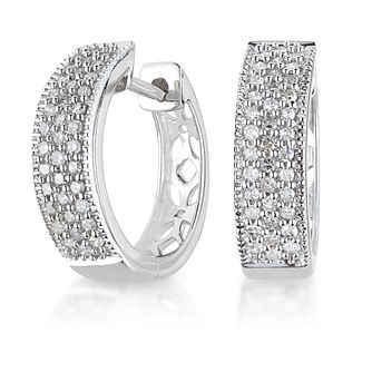 9ct White Gold 1/4ct Diamond 10mm Huggie Earrings - Product number 6158552
