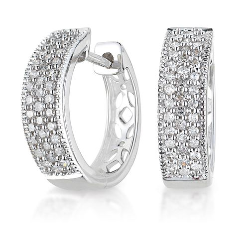 9ct white gold 0.25ct diamond earrings - Product number 6158552