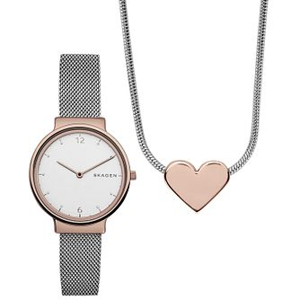 Skagen Ladies' Two Colour Bracelet Watch Gift Set - Product number 6165230