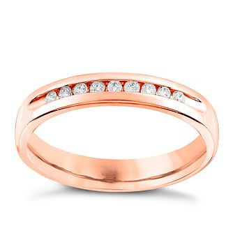 9ct Rose Gold 0.10ct Diamond  Wedding Band - Product number 6167500