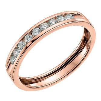 9ct Rose Gold 0.25ct Diamond Channel Set Wedding Band - Product number 6167802