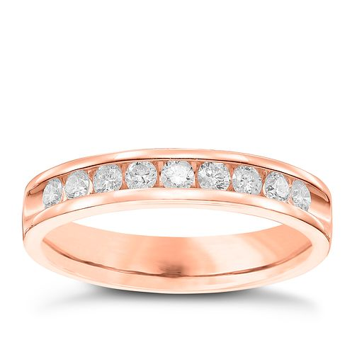 9ct Rose Gold 33pt Diamond Wedding Band - Product number 6168698