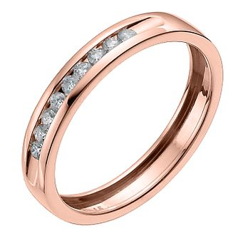 9ct Rose Gold 15 Point Channel Set Wedding Band - Product number 6168957