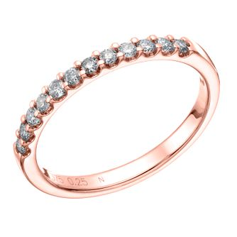 9ct Rose Gold 0.25ct Diamond Claw Set Wedding Band - Product number 6169236