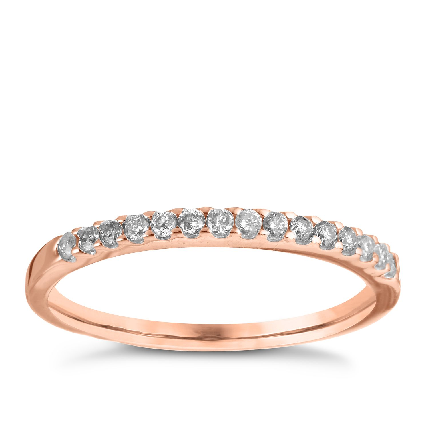 18ct Rose Gold Diamond Wedding Band - Product number 6169481
