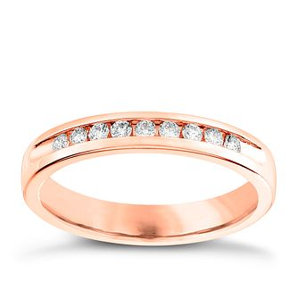 18ct Rose Gold 0.15ct Diamond Wedding Band - Product number 6170420