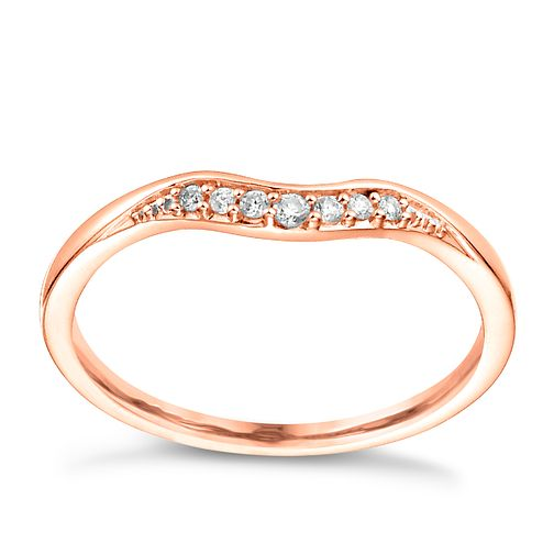 18ct Rose Gold Diamond Set Shaped Wedding Band - Product number 6170692