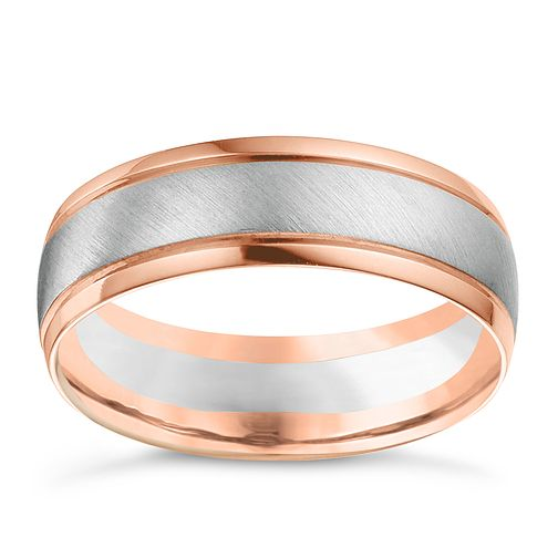 18ct White & Rose Gold Men's Wedding Band - Product number 6171222