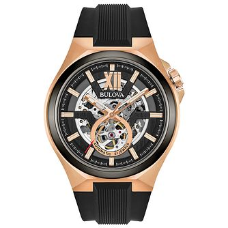Bulova Men's Classic Automatic Rose Gold Black Strap Watch - Product number 6182607