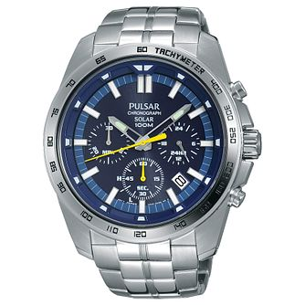 Pulsar Men's Solar Chronograph Blue Dial Bracelet Watch - Product number 6183298