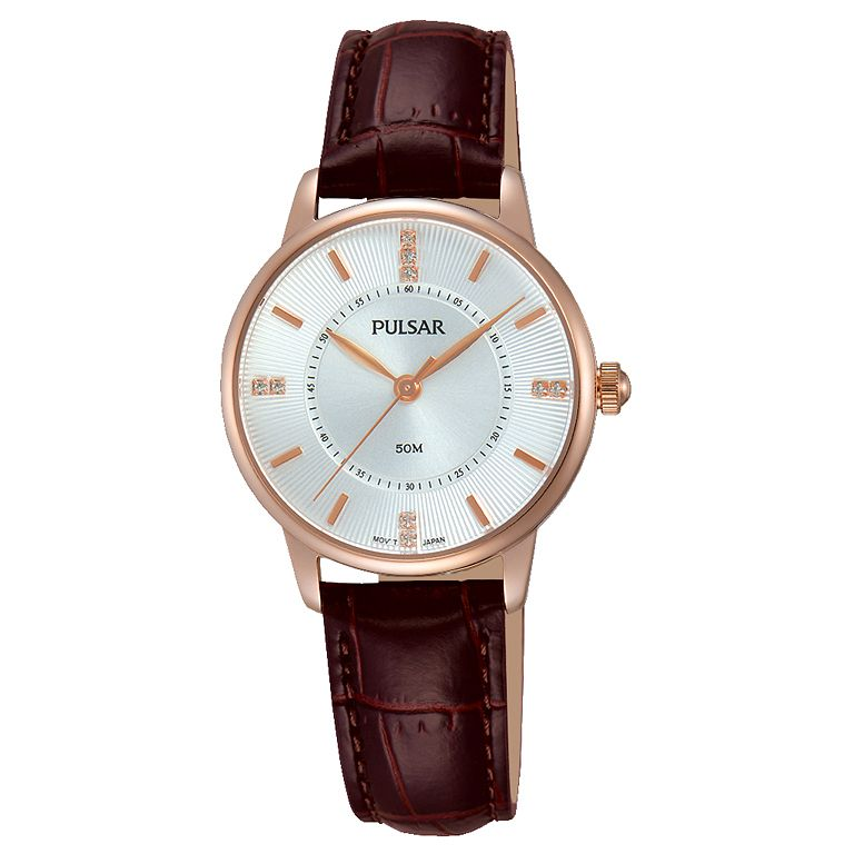 Pulsar Ladies' Rose Gold Plated Brown Leather Strap Watch - Product number 6183328