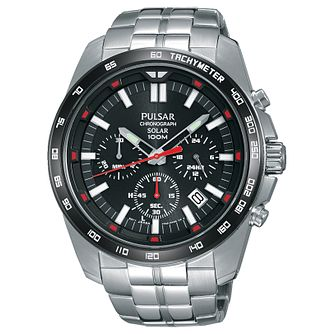 Pulsar Men's Solar Chronograph Black Dial Bracelet Watch - Product number 6183379