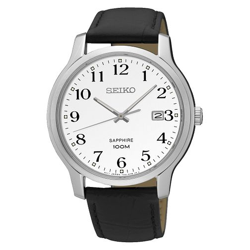 Seiko Men's White Dial Stainless Steel Black Strap Watch - Product number 6187897