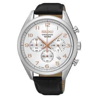 Seiko Men's Chronograph Steel Black Leather Strap Watch - Product number 6187900