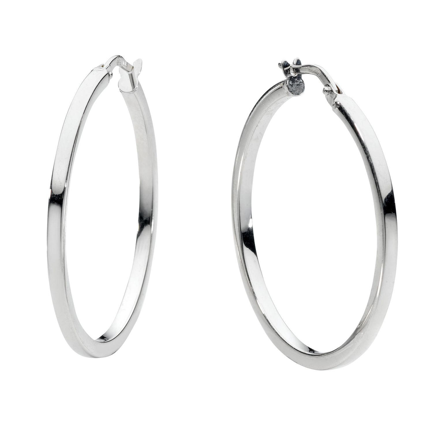 9ct White Gold 30mm Hoop Earrings - Product number 6191819