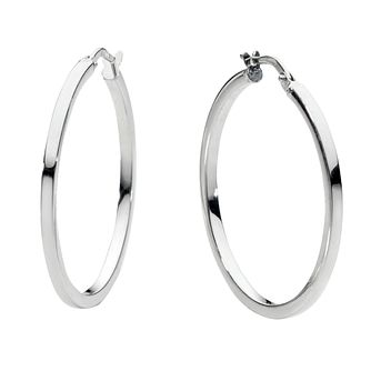 9ct white gold hoop earrings 30mm - Product number 6191819