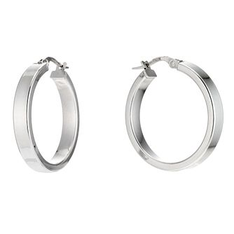 9ct White Gold Flat Creole Hoop Earrings 20mm - Product number 6191878