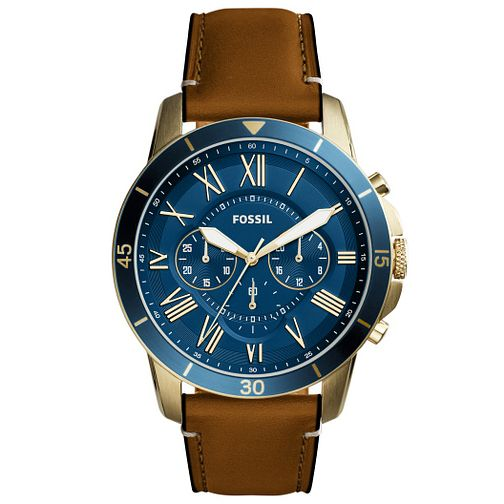Fossil Men's Blue Dial Brown Leather Strap Watch - Product number 6193633