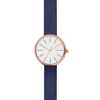 Skagen Ladies' Rose Gold-Plated Blue Leather Strap Watch - Product number 6193676