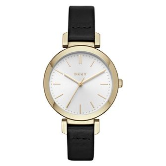 DKNY Ladies' White Dial Black Leather Strap Watch - Product number 6193781