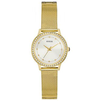 Guess Ladies' Crystal Yellow Gold Plated Mesh Bracelet Watch - Product number 6194818