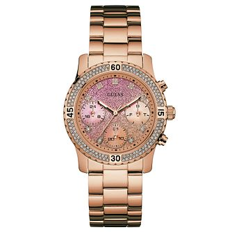 Guess Ladies' Crystal Rose Gold Plated Bracelet Watch - Product number 6194834