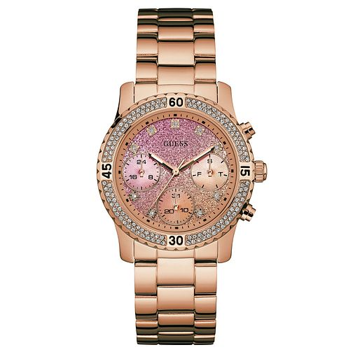 Guess Ladies' Pink Dial Rose Gold-Plated Bracelet Watch - Product number 6194834