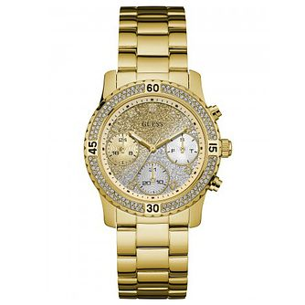 Guess Ladies' Crystal Yellow Gold Plated Bracelet Watch - Product number 6194842