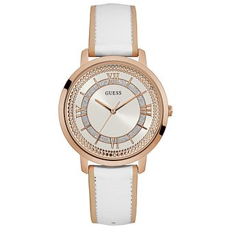 Guess Ladies' White Leather Strap Watch - Product number 6194958