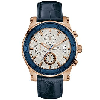 Guess Chronograph Rose Gold-Plated Blue Leather Strap Watch - Product number 6195008