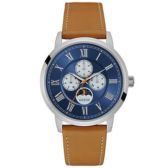 Guess Delancy Men's Brown Leather Strap Watch - Product number 6195024